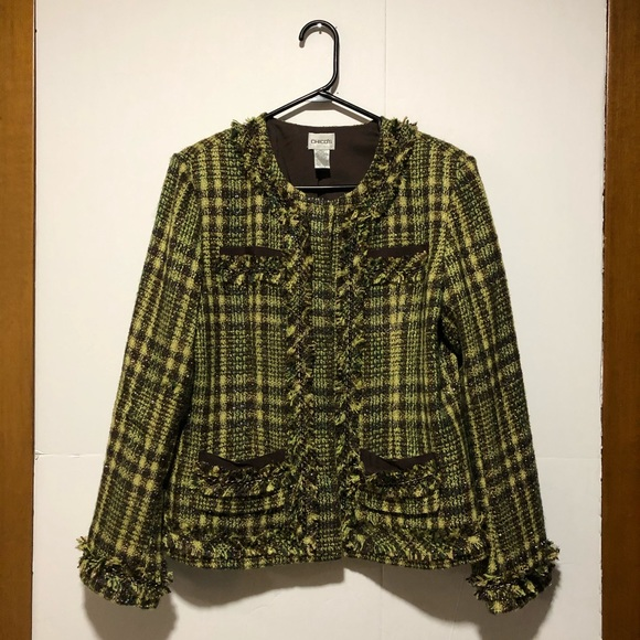 Chico's green tweed jacket with fringe Sz 0